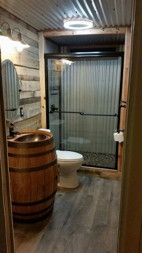 barn style bathrooms barn tin bathroom country homes pinterest barn tin