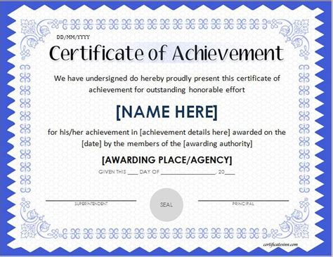 free certificate of achievement template docs achievement certificates templates free certificate