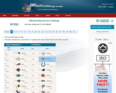 Free Office Football Pool Manager Office Pool Hosting Nfl Em Survivor