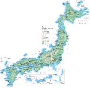 big map large detailed road and topographical map of japan japan
