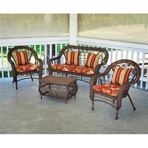 Walmart Wicker Furniture saratoga 4 wicker conversation set patio furniture walmart