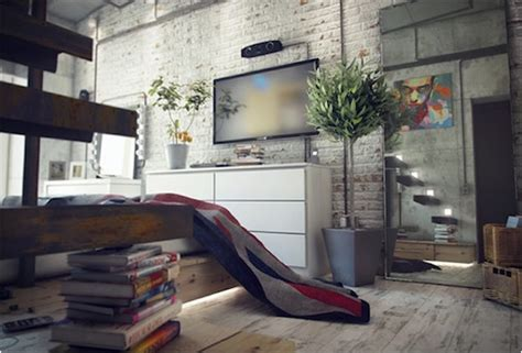 industrial bachelor loft by maxim zhukov