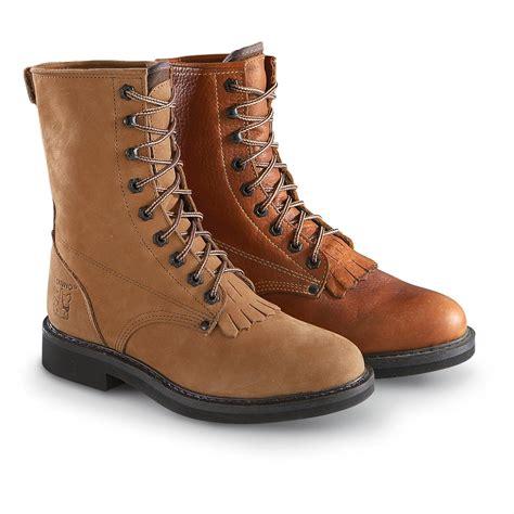 mens lace up cowboy boots s rhino 174 lace up kiltie roper boots 191004 cowboy