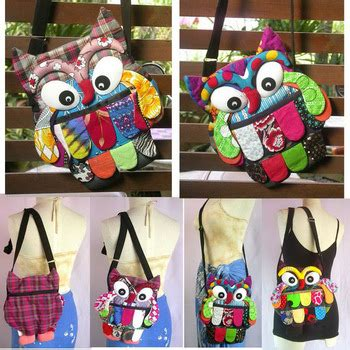 Owl Patchwork Bag 02 thai handmade patchwork owl sling bags shoulder bag