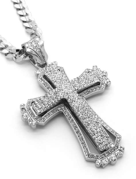 Hollow Cross Silver Pendant mens large hollow cross silver iced out pendant 30