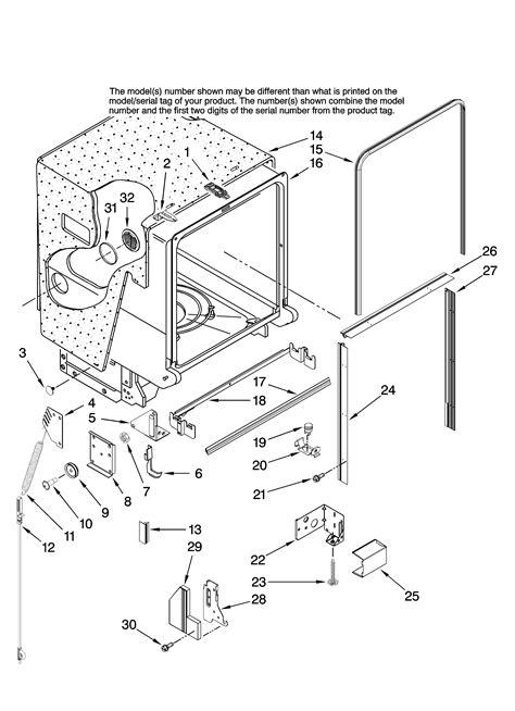 jenn air dishwasher parts diagram tub and frame parts diagram parts list for model
