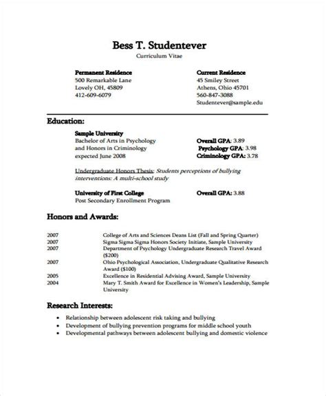 Curriculum Vitae Sample Format For Students by 11 Student Curriculum Vitae Templates 10 Free Word