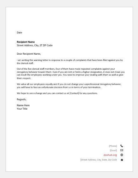 warning letters unprofessional behaviors