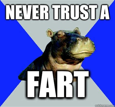 Skeptical Hippo Meme - never trust a fart skeptical hippo quickmeme