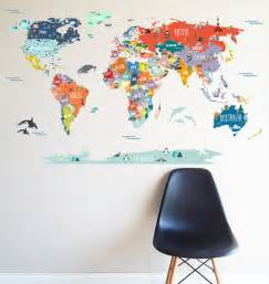 wall sticker map of the world world map interactive map wall decal