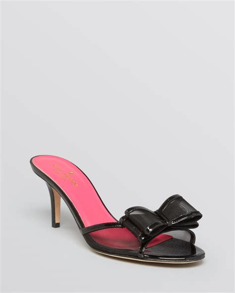 black mule sandals lyst kate spade new york open toe mule sandals michaela
