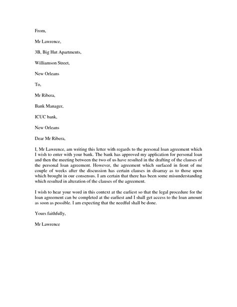 Personal Loan Letter Format To Bank Best Photos Of Personal Letter Format Formal Letter Writing Templates Personal Letter Format
