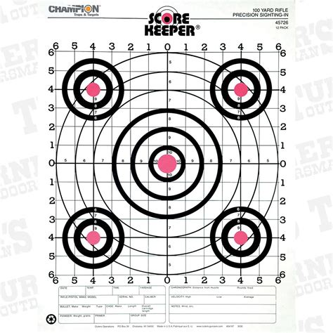 printable targets for sighting in a rifle chion scorekeeper 100 yard rifle sight in target