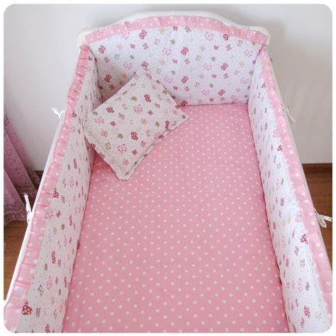 Baby Pink Cot Bedding Sets Promotion 6pcs Pink Baby Crib Bedding Set For Cot Bed Kit Bumper Pillow Bed Rest Bumpers