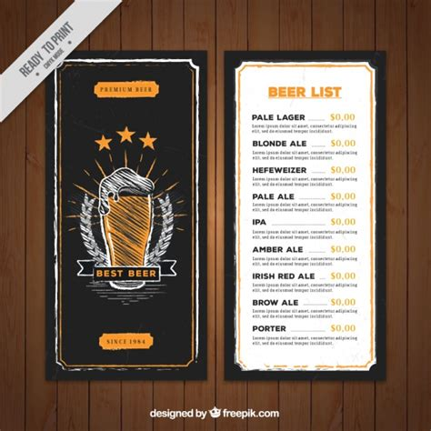 hand drawn beer menu template in retro style vector free