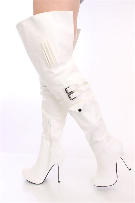 white thigh high platform boots faux leather phantom