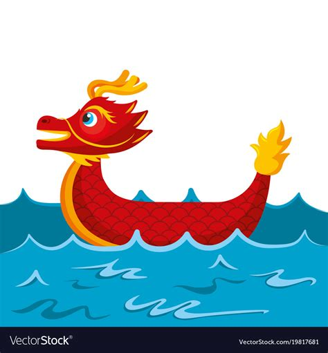 dragon boat cartoon images red dragon boat cartoon chinese in sea royalty free vector