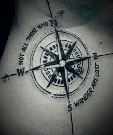 compass tattoo with quote not all those who wander are