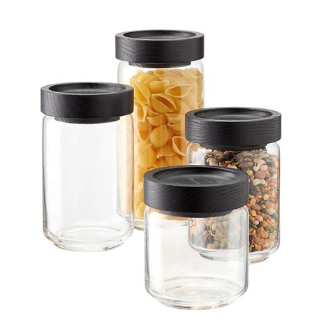 artisan glass canisters  black lids glass canisters