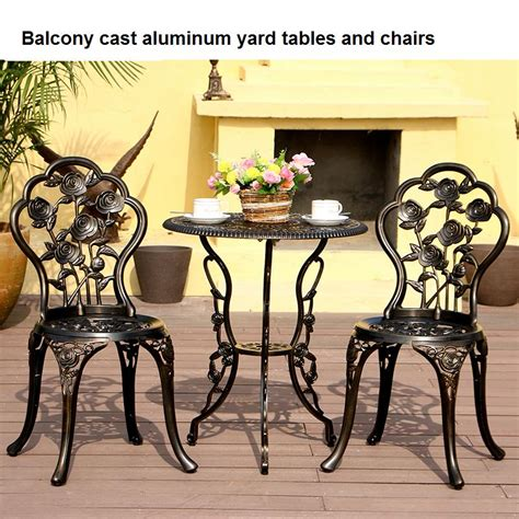 Cast Aluminum Patio Table And Chairs Balcony Cast Aluminum Yard Tables And Chairs Outdoor