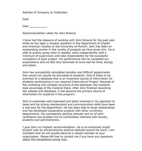 Sle Letter Of Recommendation From Research Supervisor research fellowship recommendation letter sle 28 images