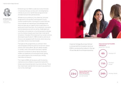 Imperial College Business School Mba Ranking by Imperial College Business School Time Mba Brochure