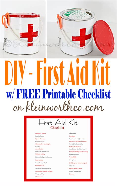 diy i want that products list aid kit and printable checklist kleinworth co