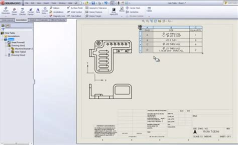 solidworks tutorial holes solidworks tutorial ว ธ การใช เคร องม อ hole tables