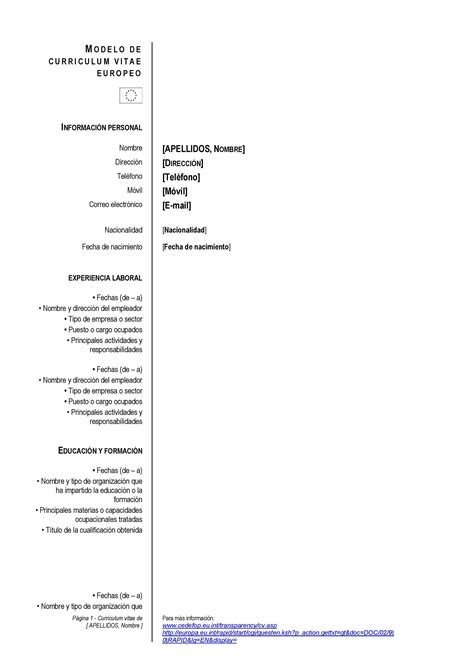 Modelo De Curriculum Vitae Europeo Para Rellenar En Word Modelo De Curr 237 Culum Vitae Para Europa Paperblog