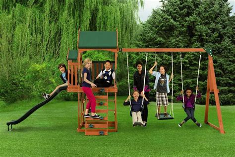 sears swing set sportspower wp 506 timber play ii with balcony swing