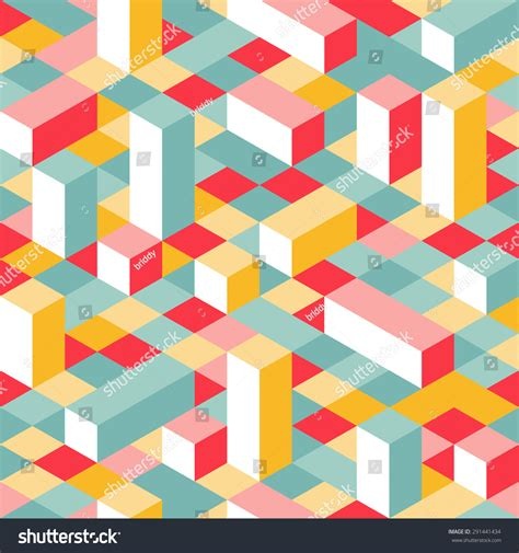 geometric pattern random colorful isometric seamless pattern random puzzle stock