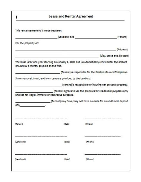 Rental Contract Template Uk by Rent Lease Agreement Real Estate Forms