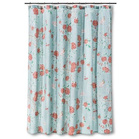 threshold bird shower curtain threshold floral and birds shower curtain blue target