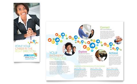 recruiting brochure template expo career fair tri fold brochure template design