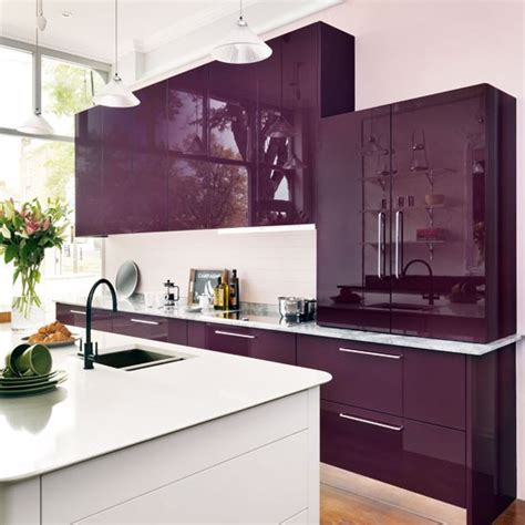 purple kitchens mixed materials kitchen gloss kitchen ideas 10 ideas