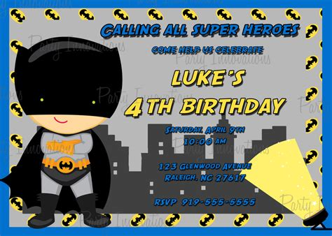 batman birthday invitations templates ideas batman and
