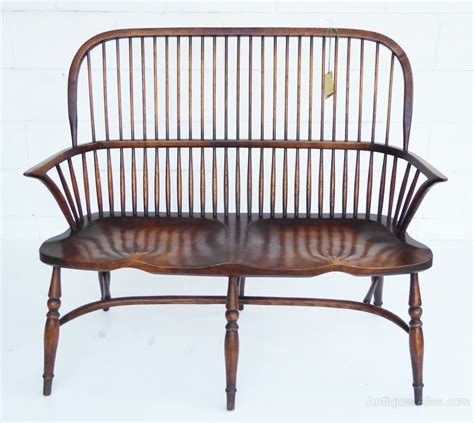 settee bench with back antiques atlas windsor style stick back 2 seater settee