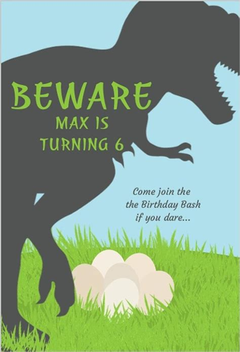 6 year birthday card template 17 dinosaur birthday invitations how to sle templates