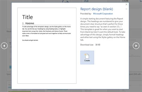 report design document template find and apply a template office support