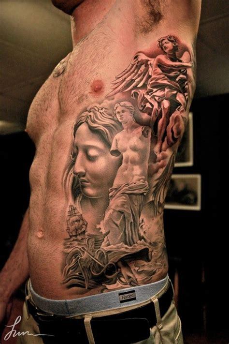 renaissance tattoo in renaissance style on ribs tattoos