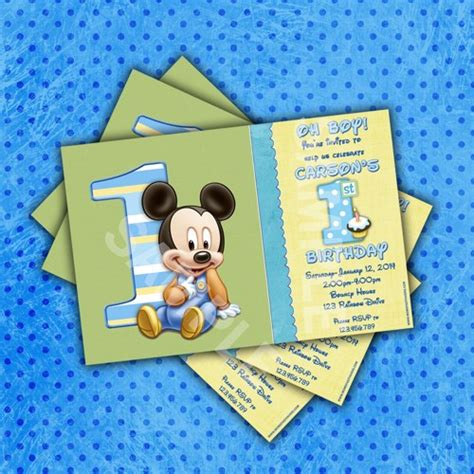 Handmade Mickey Mouse Birthday Invitations - mickey mouse 1st birthday invitation birthday