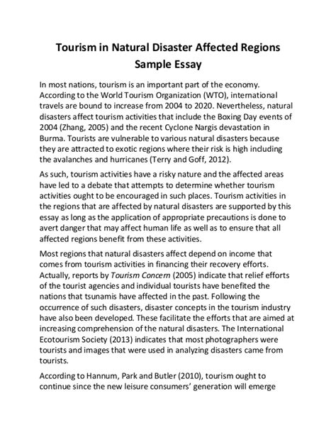 Disaster Management Research Essay by Tourism In Disaster Affected Regions Sle Essay