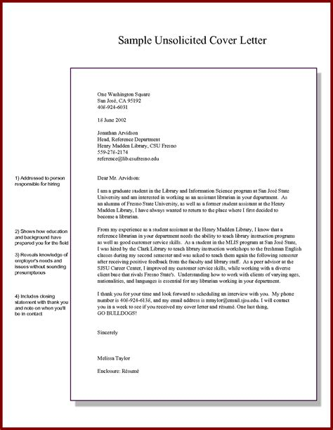 application letter unsolicited sle unsolicited cover letter exles cover letter sle 2017