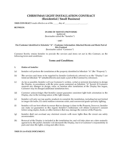 contract templates for small business light display contract residential and small
