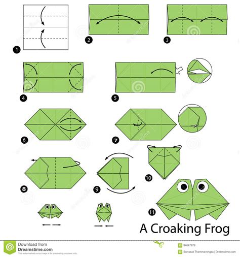 step by step how to make origami a croaking
