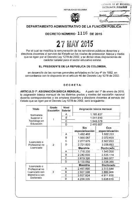 salario docente 2016 pdf decreto 1116 tabla salarial 1278 del 2015 decreto 1116 del 27 de mayo