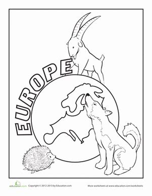 coloring page europe europe worksheet education com