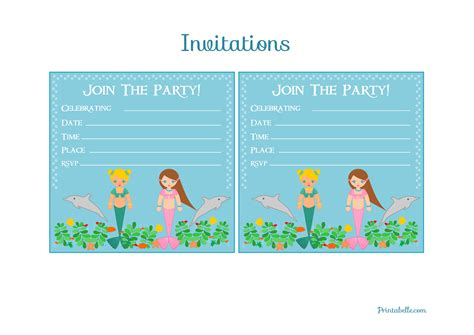 mermaid birthday party invitations template best