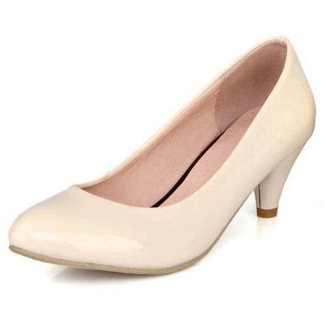 beige retro leather slip  pump  heel dress shoe