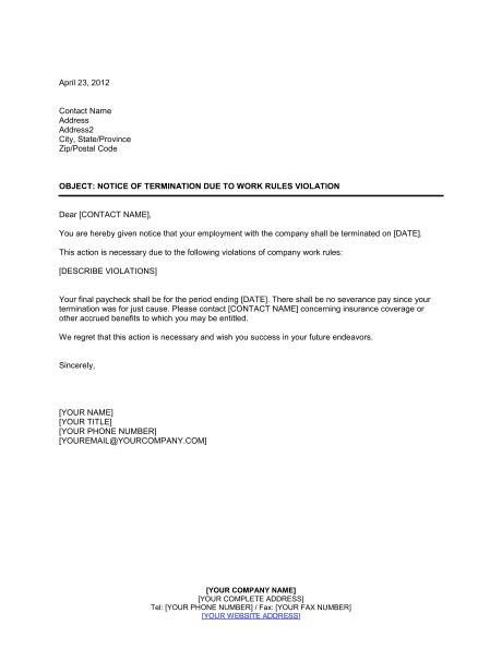 notice termination work rules violation template word